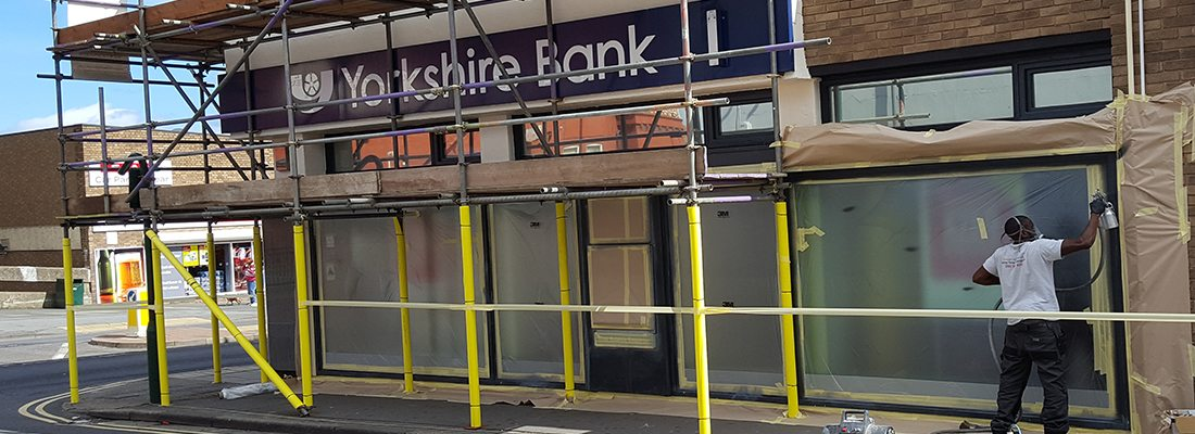 Shop Front Spraying Yorkshire Bank